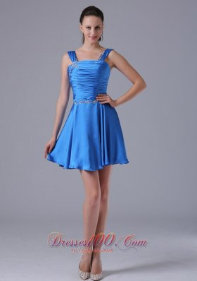 Straps Ruched Bust Prom Cocktial Dress A-line Beading