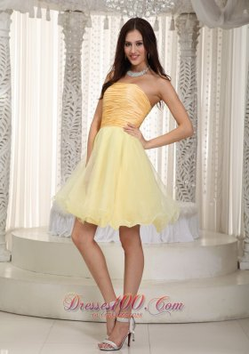 Light Yellow Princess Mini Ruch Graduation Homecoming Dress