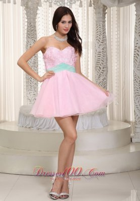 Baby Pink A-line Mini Floral Appliques Prom Dress
