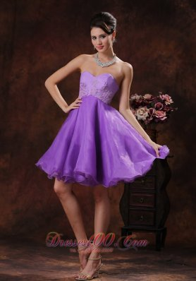 Lavender Princess Short Prom Dress With Appliques
