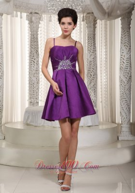 Straps Purple Mini-length Homecoming Dress Beaded