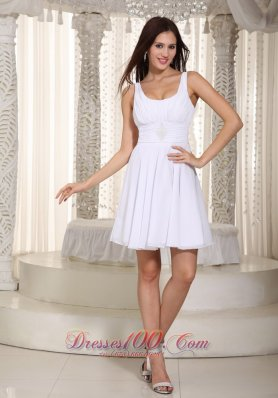White Chiffon Mini Beading Prom Holiday Dress with Straps