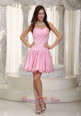 Beading Pink Mini-length Prom Graduation Dress Taffeta Sweetheart