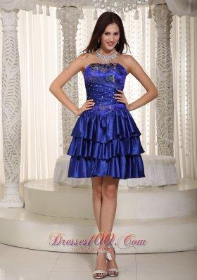Layered Blue Embroidery Mini-length Prom Graduation Dress Beaded