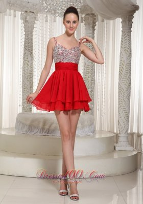 Red Spaghetti Straps Beaded Cocktail Dress Mini-length