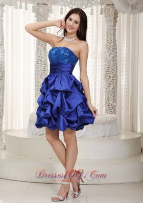 Knee-length Pick-ups Blue Prom Dress Taffeta Sequined