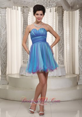 Two-tone Aqua Organza Mini-length Cocktail Dress Ruched