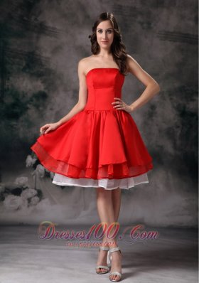 Knee-length White and Red Prom Graduation Dress with Layers