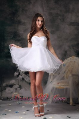 White Sweetheart Organza Mini-length Prom Homecoming Dress