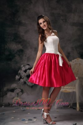 Spaghetti Straps White and Hot Pink Mini Prom Holiday Dress