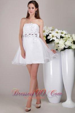 Mini Appliques Strapless White Cocktail Dress Organza