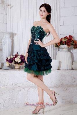 Beaded Taffeta Teal Homecoming Dress in Mini-length