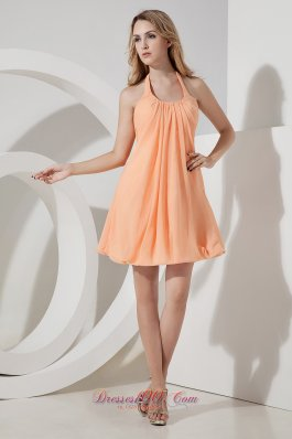 Orange Mini-length Halter Prom Dress with Ruching
