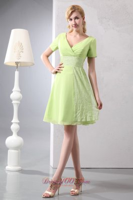 Short sleeves Yellow Green Mini Graduation Dress Sequined