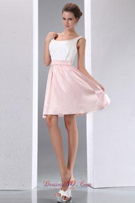 Scoop White and Pink Mini-length Taffeta Prom Dress