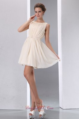 Champagne Prom Dress Scoop Chiffon Mini-length Trends