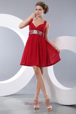 Sequined Straps Chiffon Red Homecoming Dress Mini-length