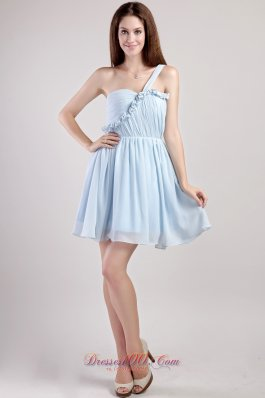 One Shoulder Light Blue Chiffon Mini Homecoming Dress