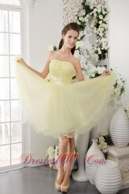 Organza Knee-length Cocktail Dress Beads Light Yellow