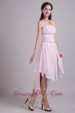Asymmetrical Hemed Pink High-low Homecoming Dress