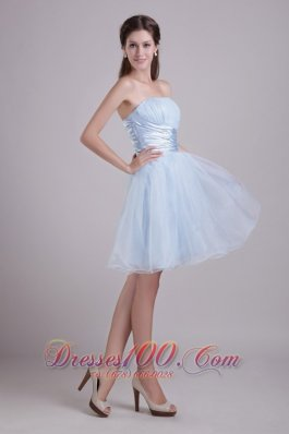Baby Blue Organza Cocktail Dress with Beads Short