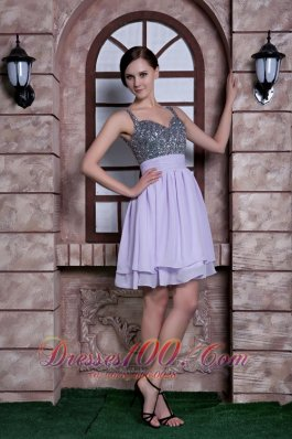 Beaded Spaghetti Straps Knee-length Homecoming Dress