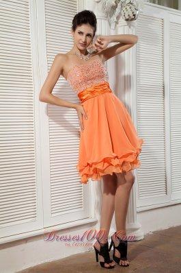 Sweetheart Orange Beads Mini Homecoming Dress Chiffon
