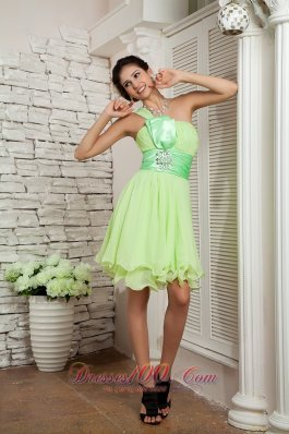Beading Yellow Green Mini Homecoming Dress One Shoulder