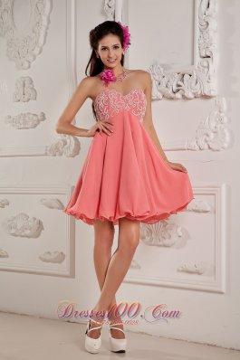 Watermelon Sweetheart Mini-length Prom Dress Beaded
