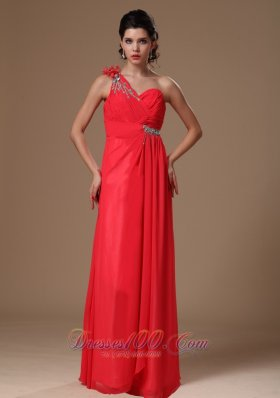 Beaded One Shoulder Coral Red Empire Prom Dress