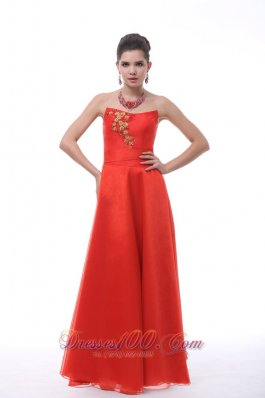 Hard-edged Neckline Embroidery Rust Red Prom Dress