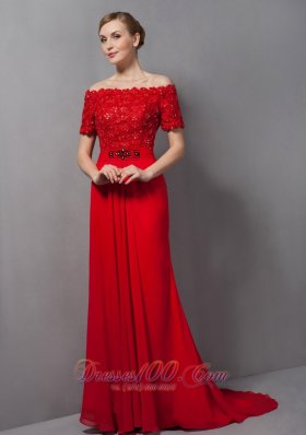 Off The Shoulder Red Appliques Mother Of The Bride Dress