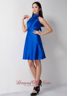 High-neck Royal Blue Bridesmaid Dress Knee-length