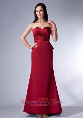 Wine Red Sweetheart Brush Satin Bridesmaid Dress