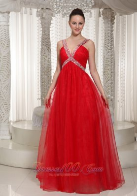 V-neck Red Chiffon Beading Decorate Prom Evening Dress
