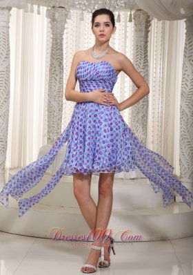 Printing High-low Empire Cocktail Holiday Dress Ruched Ruffles