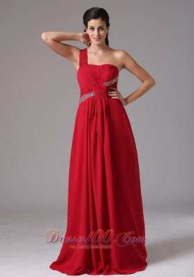 Ruch Beading Wine Red One Shoulder Prom Dress