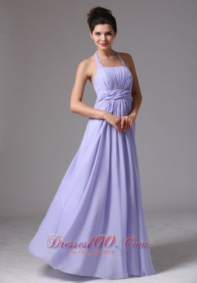Halter Lilac Ruched Column Chiffon Bridesmaid Dress