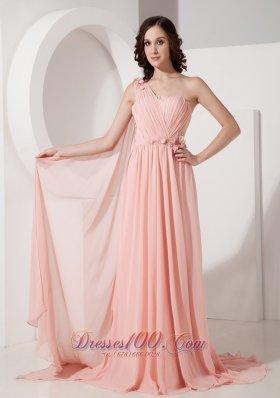 Appliques Watteau Baby Pink One Shoulder Evening Dress