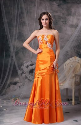 Orange Ruch Column Evening Dress Taffeta Appliques