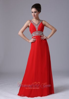 Red Beaded V Neckline Empire Prom Dress Chiffon