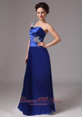 Royal Blue Beaded One Shoulder Evening Dress Ruched