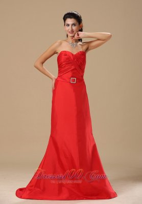 Satin Ruched Evening Dress with Beads Brush Sash