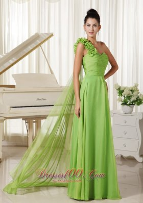 Watteau Train One Shoulder Lime Green Prom Dress