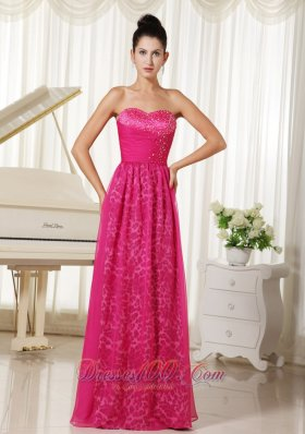 Hot Pink Leopard Chiffon Prom Dress Beaded Sweetheart