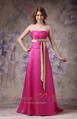 Satin Brush Prom Evening Dress Hot Pink with Ruch Bowknot