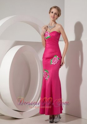 Applique Mermaid Hot Pink Ankle-length Cocktail Dress