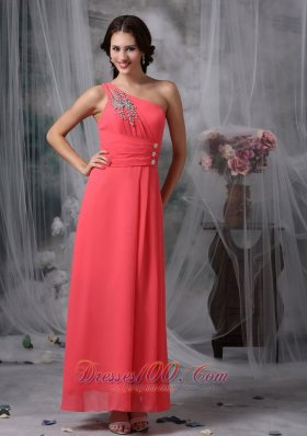 Ankle-length Coral Red Beaded One Shoulder Evening Dress