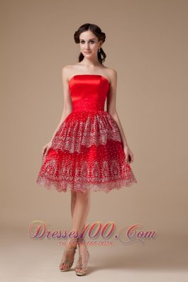 Taffeta Red Knee-length Prom Dress Strapless Beadwork