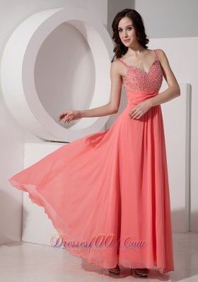 Ankle-length Straps Watermelon Beading Evening Dress